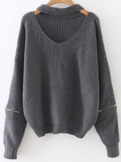 Grey Choker V Neck Zipper Sleeve Sweater