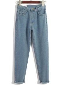 Pale Blue Turn Up Straight Denim Pants