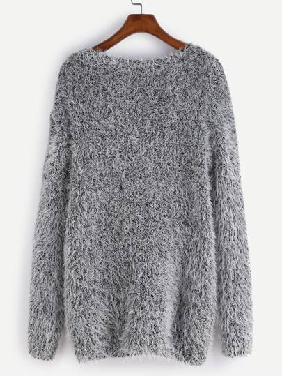 Grey Drop Shoulder Fuzzy Sweater -SheIn(Sheinside)