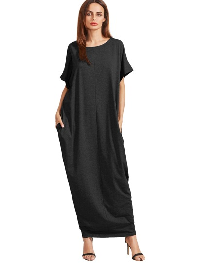 Black Short Sleeve Pockets Maxi Dress