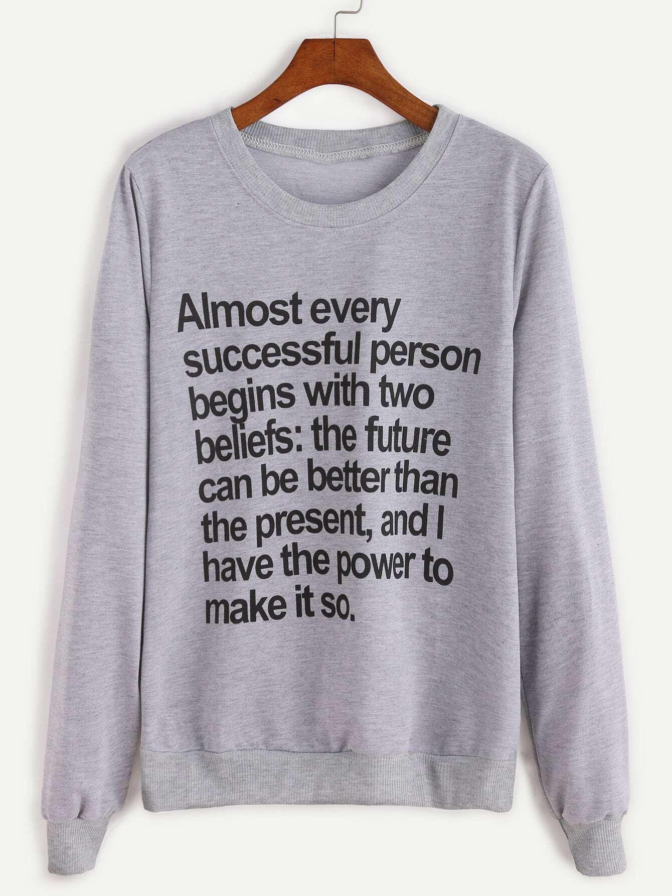 Grey Letter Print Ribbed Trim Sweatshirt sweatshirt161021131