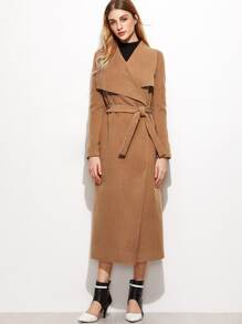 Camel Drape Collar Longline Wrap Coat