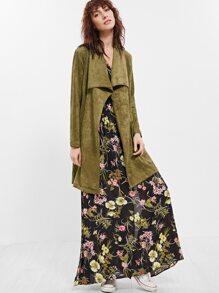 Olive Green Faux Suede Drape Collar Wrap Coat