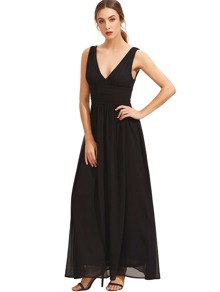 Black Sleeveless V Neck Maxi Dress