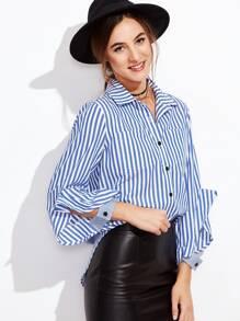 Blue Vertical Striped Pocket Blouse