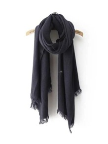 Navy Frayed Trim Scarf