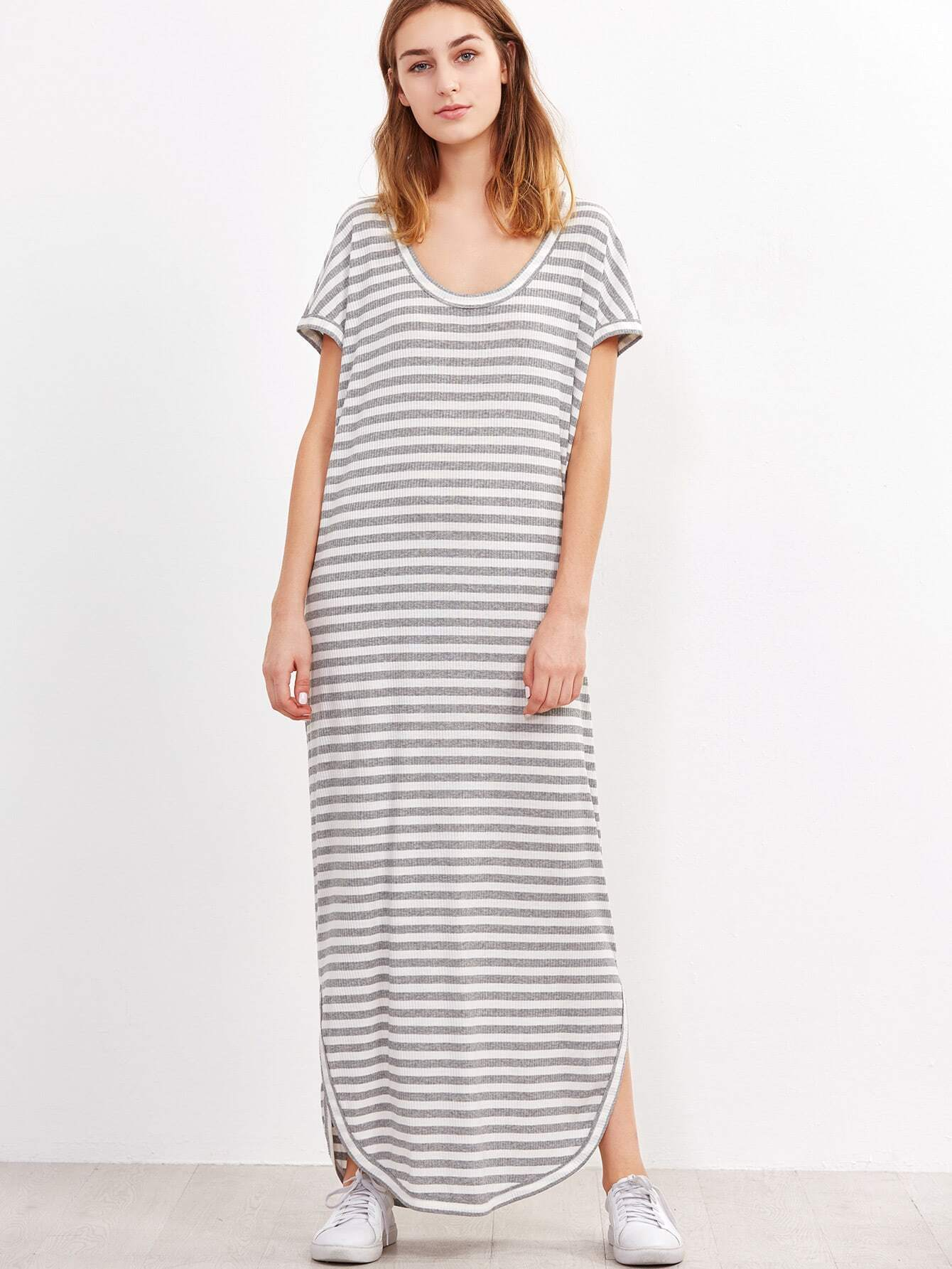 http://us.shein.com/Grey-And-White-Striped-Curved-Hem-Ribbed-Dress-p-322555-cat-1727.html?aff_id=4021