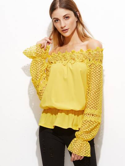 Yellow Off The Shoulder Crochet Sleeve Blouse