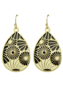 G-Black Bohemian Style Enamel Flower Drop Earrings