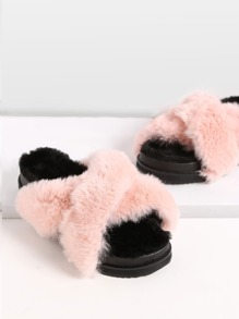Pink Rabbit Hair Fur Lined Flatform Slippers