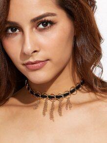 Gold Circle Chain Tassel Choker Necklace