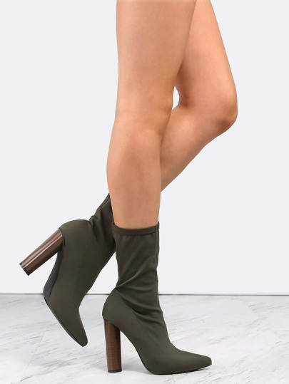 Pointy Toe High Shaft Booties OLIVE