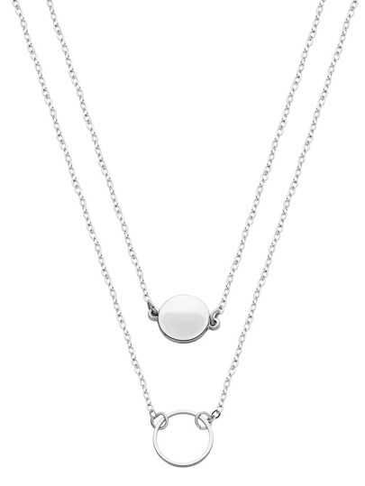 Silver Double Layer Geometric Round Necklace