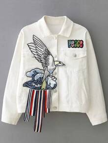 White Embroidery Denim Jacket With Tape Detail
