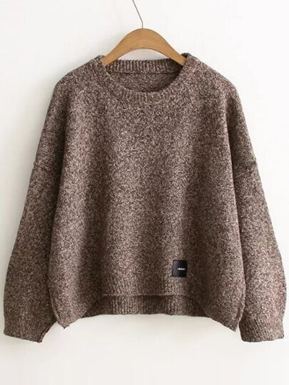 Coffee Patch Detail Drop Shoulder Sweater