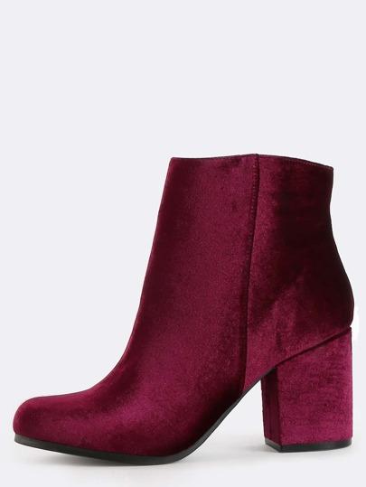 Almond Toe Velvet Ankle Boots GARNET
