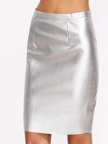 Falda espalda con cremallera de metal - plateado