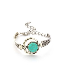 Silver Plated Round Turquoise Carved Bracelet