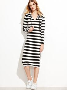Contrast Striped Hooded Dress