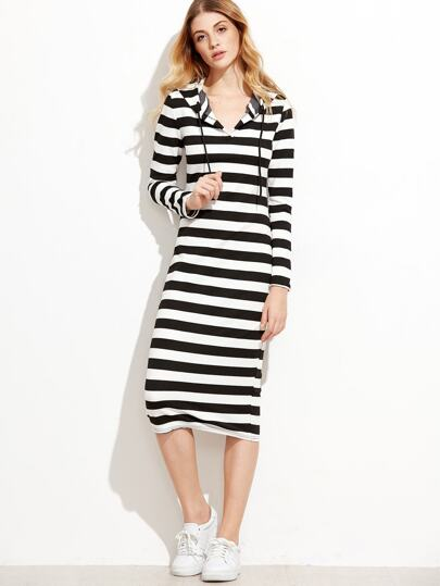 Monogram Stripe Hooded Dress