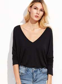 T-shirt col V double manche longue - noir