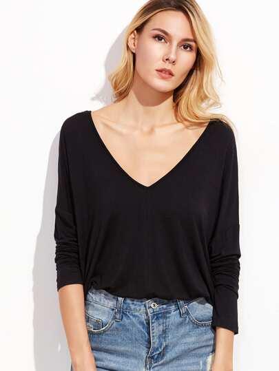 T-shirt Drop Schulter Dopplet V-Ausschnitt-schwarz