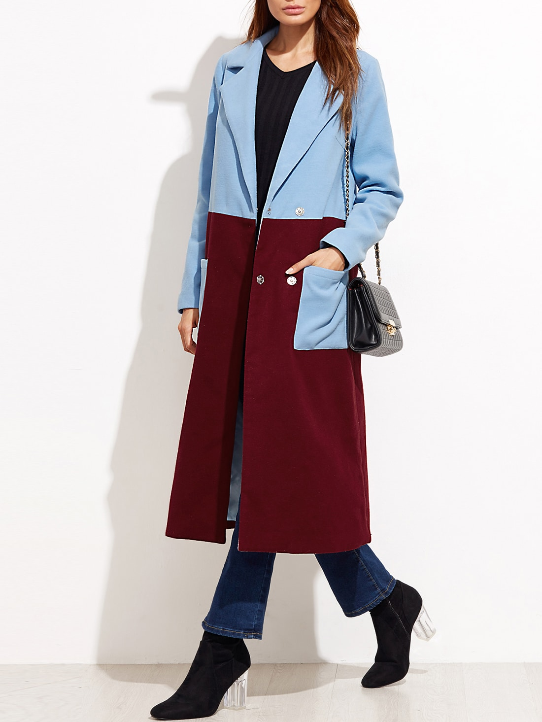Contrast Dual Pocket Front Hidden Button Long Coat