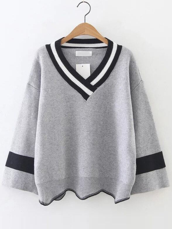 asymmetrische pullover v ausschnitt kontrastfarbe grau german shein sheinside. Black Bedroom Furniture Sets. Home Design Ideas