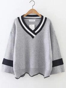 Grey Color Block V Neck Asymmetrical Sweater