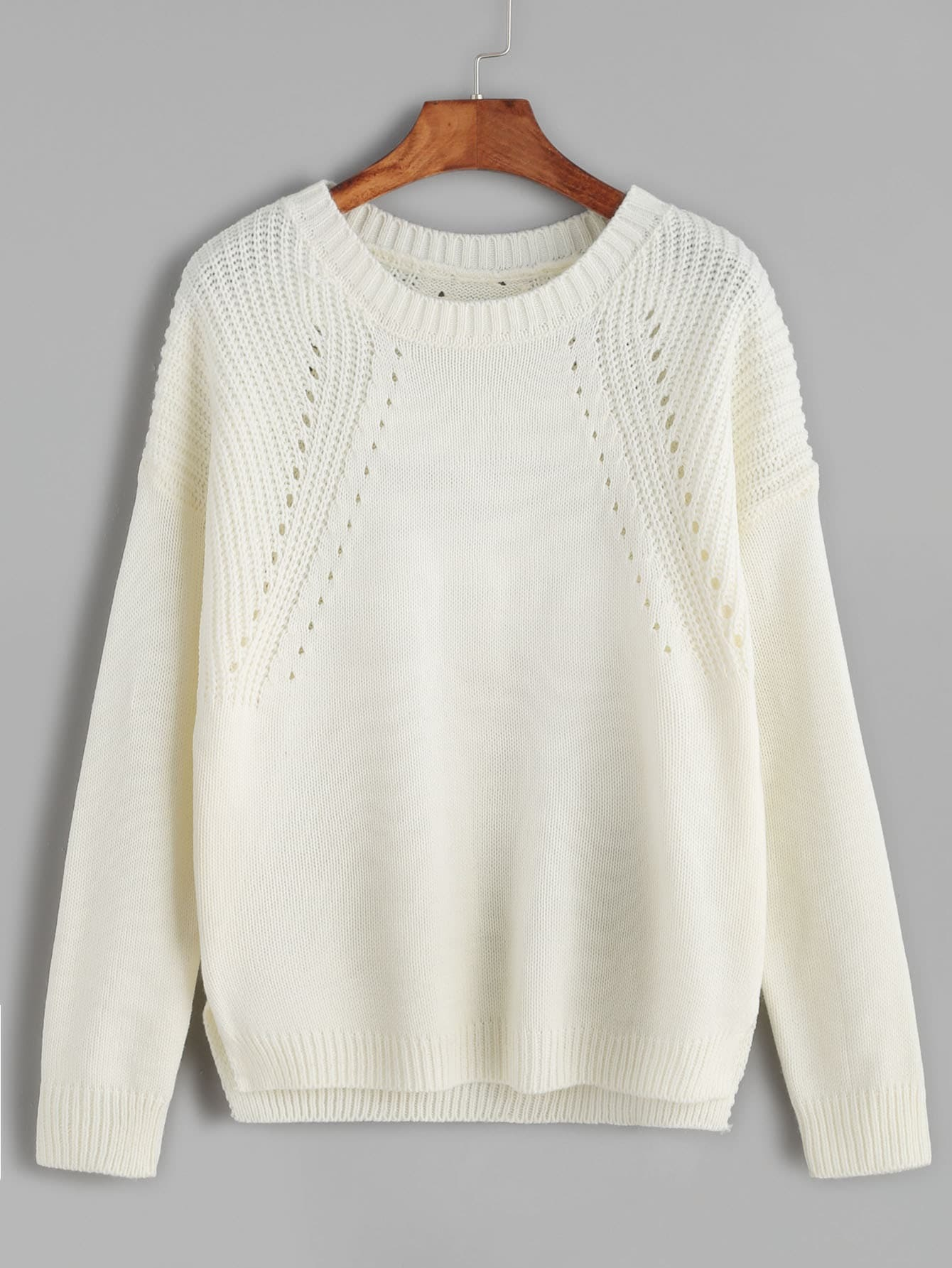Beige Hollow Out Split Side Sweater hollow out textured sweater