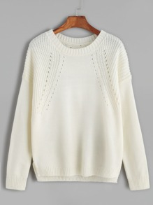 Beige Hollow Out Split Side Sweater