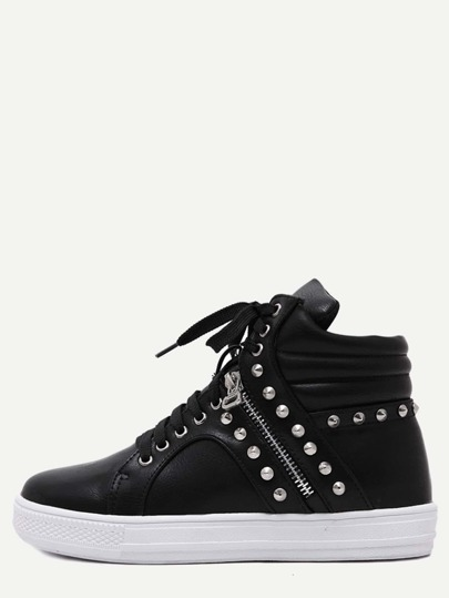 Black Studded PU Lace Up High Top Sneakers