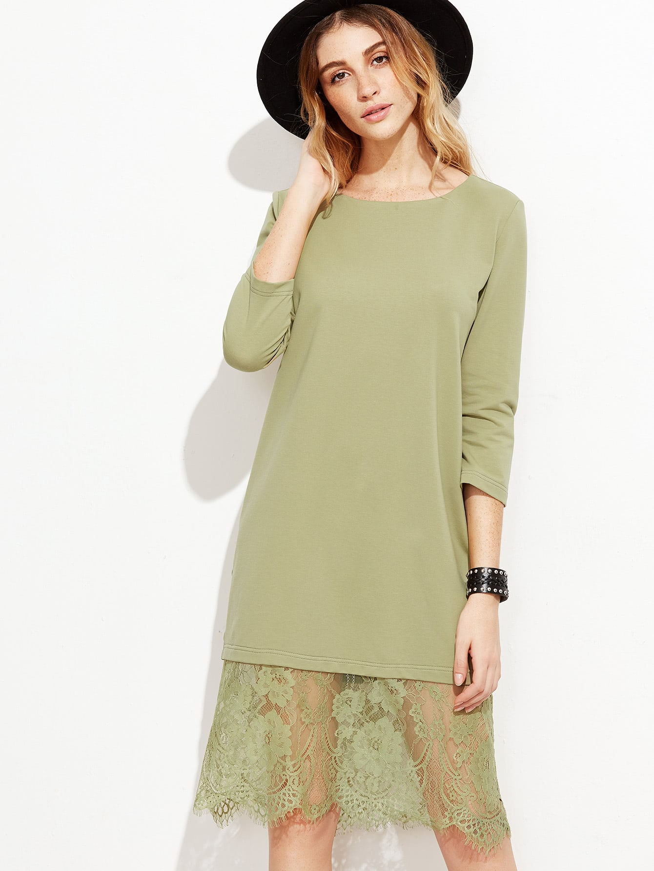 Green Eyelash Lace Trim Tunic DressGreen Eyelash Lace Trim Tunic Dress<br><br>color: Green<br>size: L,M,S,XS