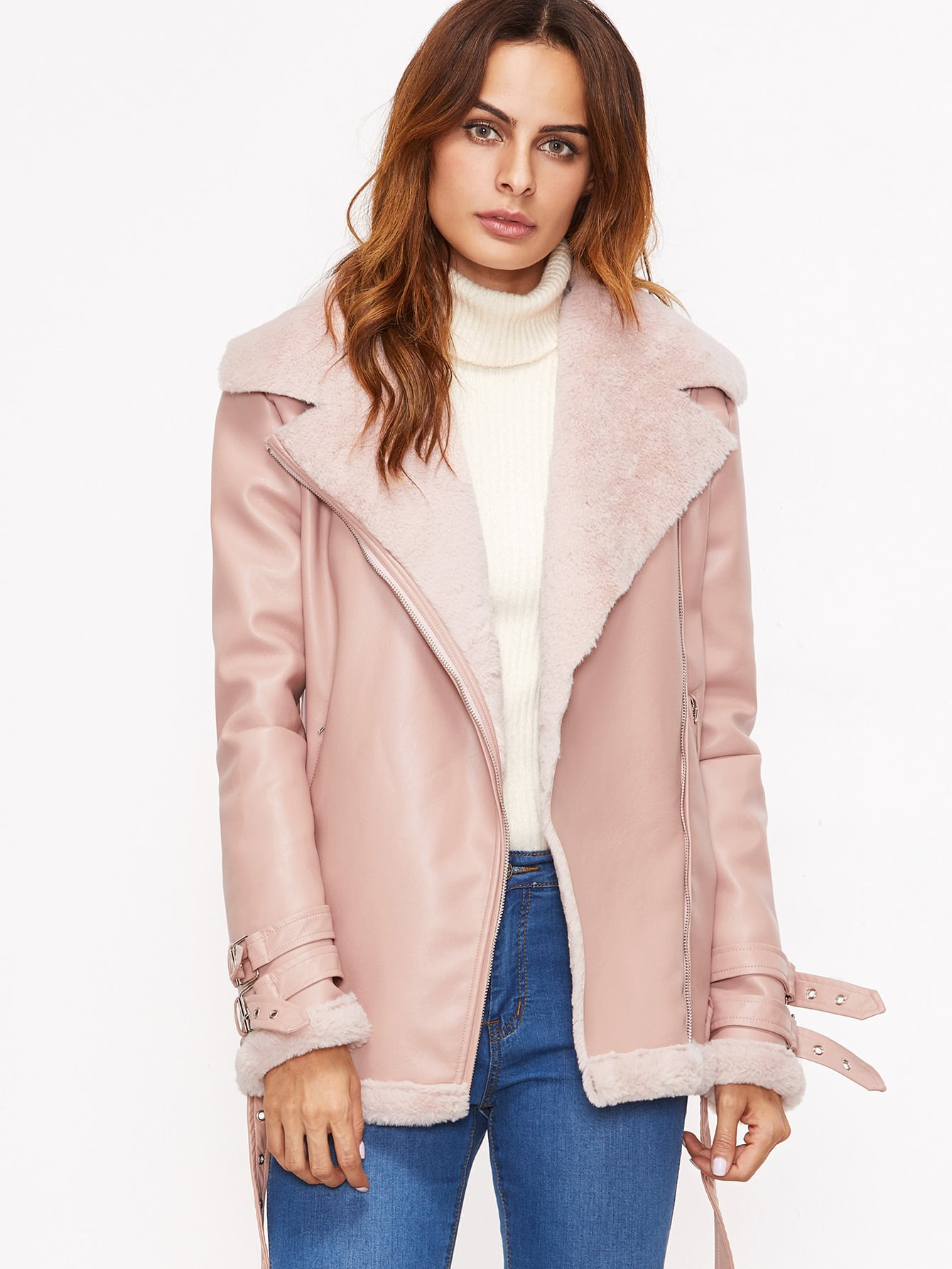 Pink Faux Shearling Belted Cuff And Hem Moto Jacket -SheIn(Sheinside)