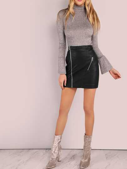 Faux Leather Zip A-Line Skirt BLACK