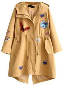 Khaki Butterfly Embroidered Drawstring Waist Hooded Coat
