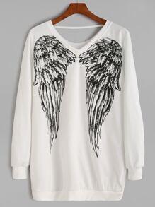 White Angel Wings Print Sweatshirt