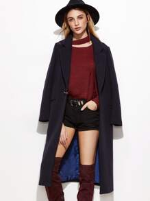 Navy Notch Collar Overcoat With D Ring Detail
