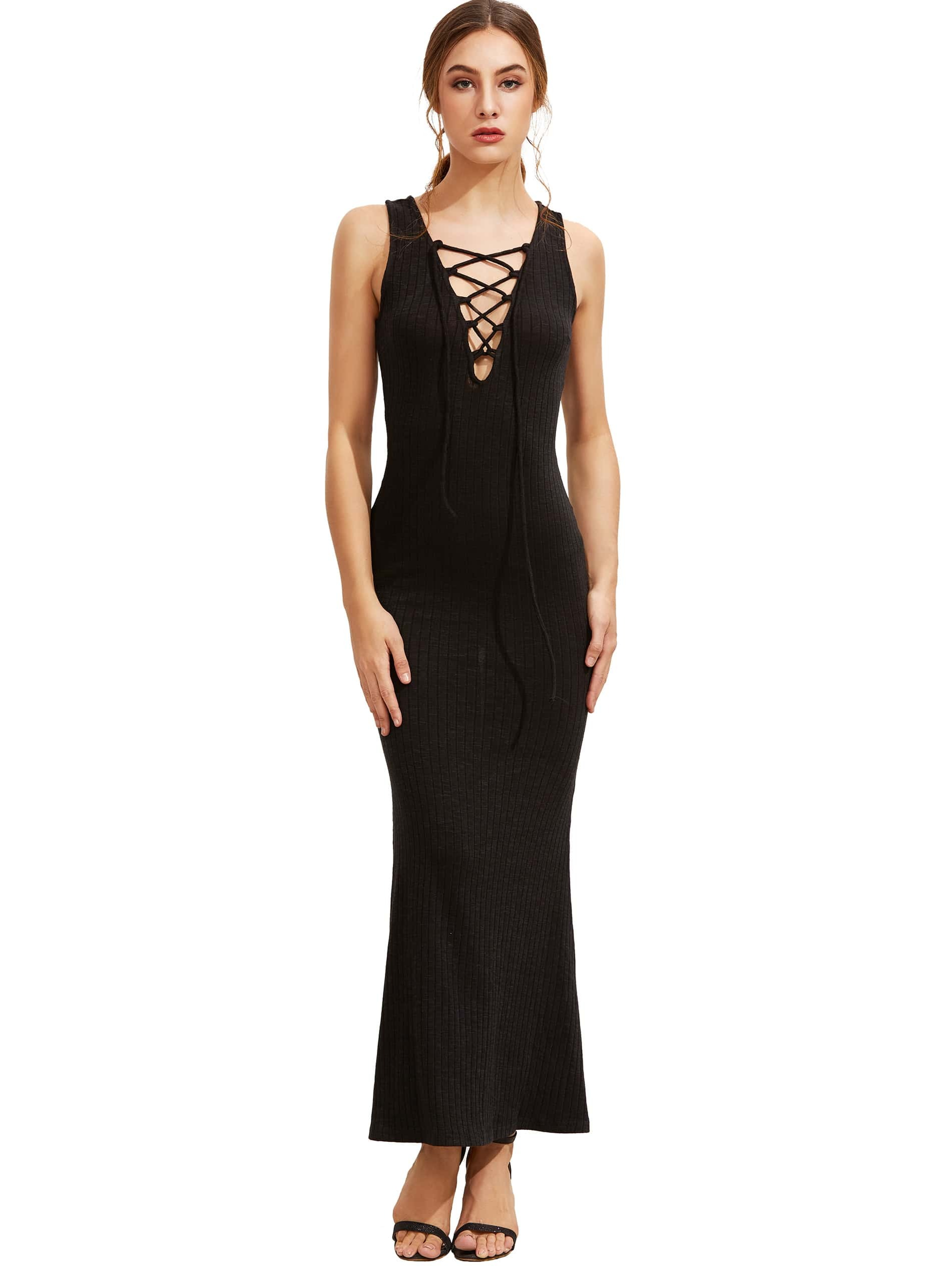 Plunging Neckline Eyelet Lace Up Ribbed Dress dress160825555
