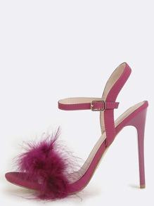 Faux Feather Open Toe Heels PURPLE