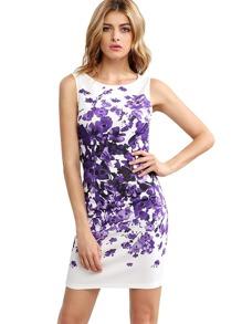 Purple Sleeveless Vintage Print Dress