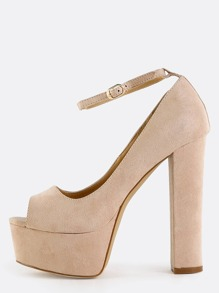 Peep Toe Ankle Strap Pumps NUDE