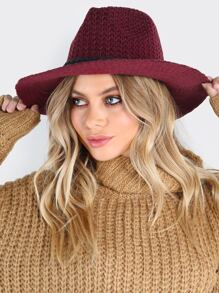 Knit Medium Brim Fedora BURGUNDY