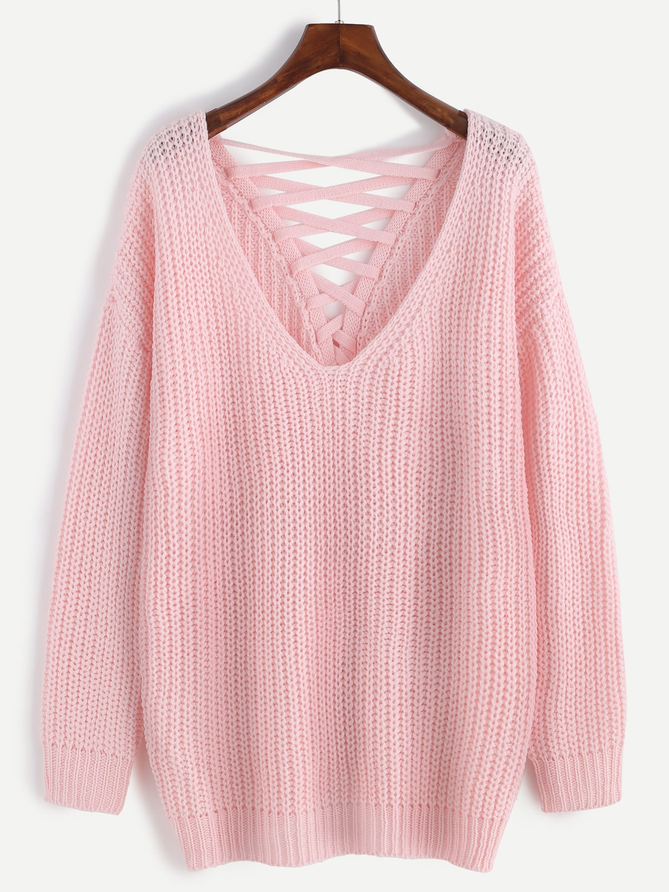 Pink Deep V Neck Lace Up Back Drop Shoulder Sweater -SheIn(Sheinside)