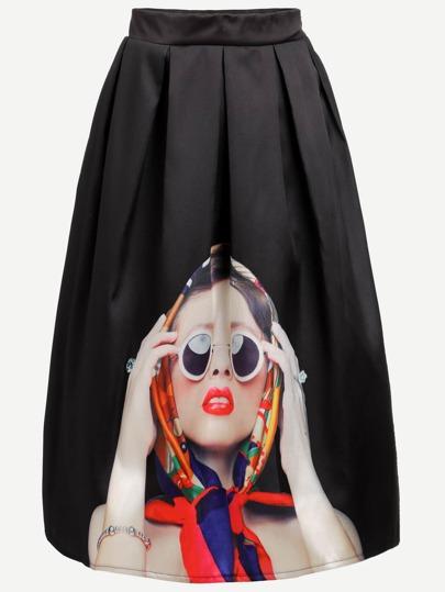 Black Girl Print Pleated Skirt