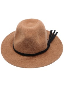 Khaki Faux Leather Band Knit Fedora Hat