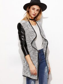 Grey Marled Knit Waterfall Collar Contrast Coated Sleeve Coat