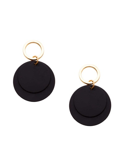 Black Alloy Coin Minimalist Drop Earrings
