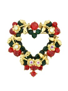 Gold Colorful Rhinestone Heart Shape Brooch