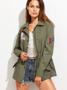 Olive Green Drawstring Waist Utility Jacket With Patch